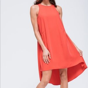 Pleione Ruffled Hi Low Lo Shift LBD Red Dress